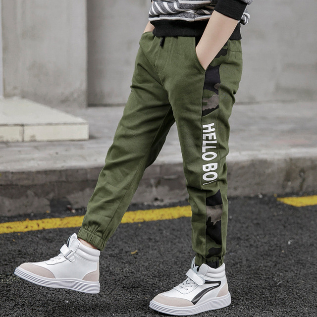 New Pants for Boys Spliced Beam Foot Trousers Cotton Casual Sports Pants Clothes for Teen Kids Boys pants Spring clothes 2