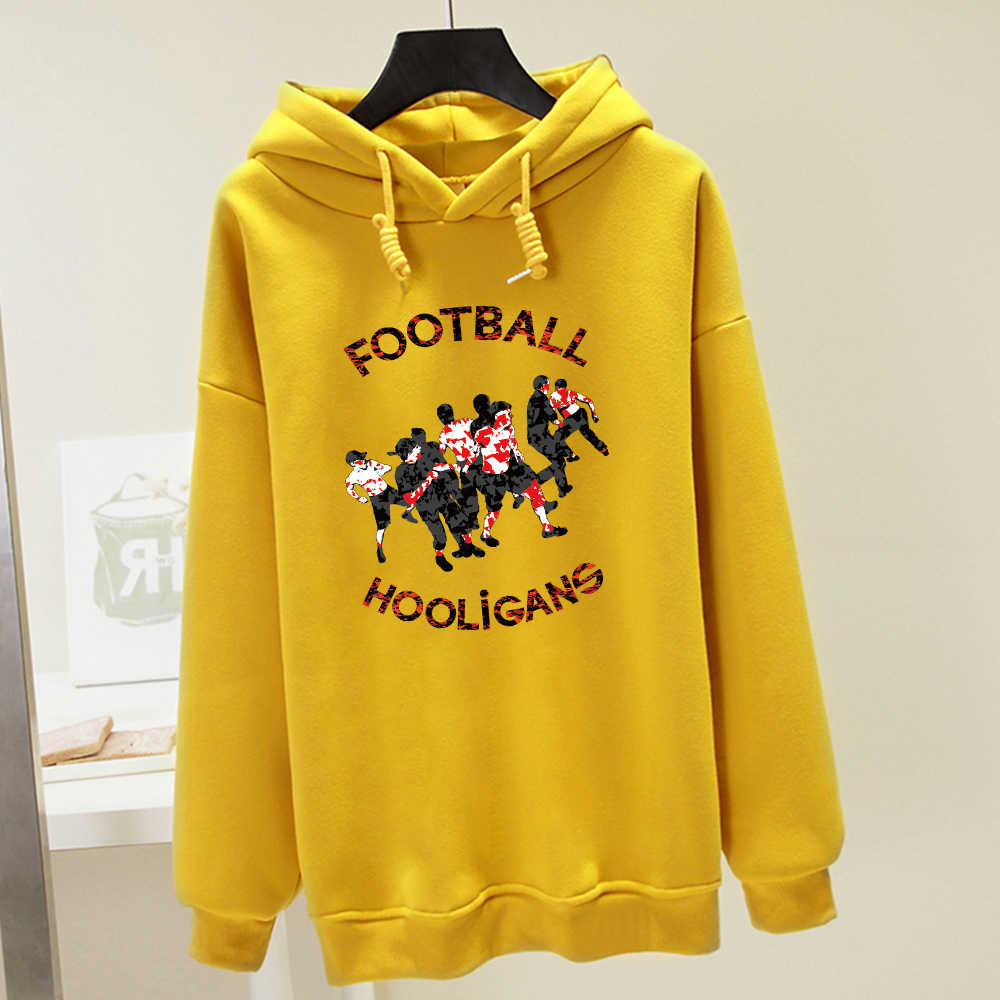 Fußball Hooligans Brief Drucken Cartoon Grafik Winter Harajuku Sweatshirt Punk Streetwear Übergroße Pullover Kpop Frauen Pullover