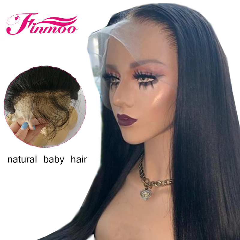 Wig Human-Hair-Wigs Straight Full-Lace Black-Women with for Natural-Hairline Pre-Plucked