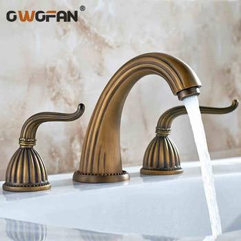 Basin Faucets Antique Bathroom Faucet Bronze 3 Hole Water Taps Handles for Furniture Dual Holder Wash Basin Sink Crane HJ-606