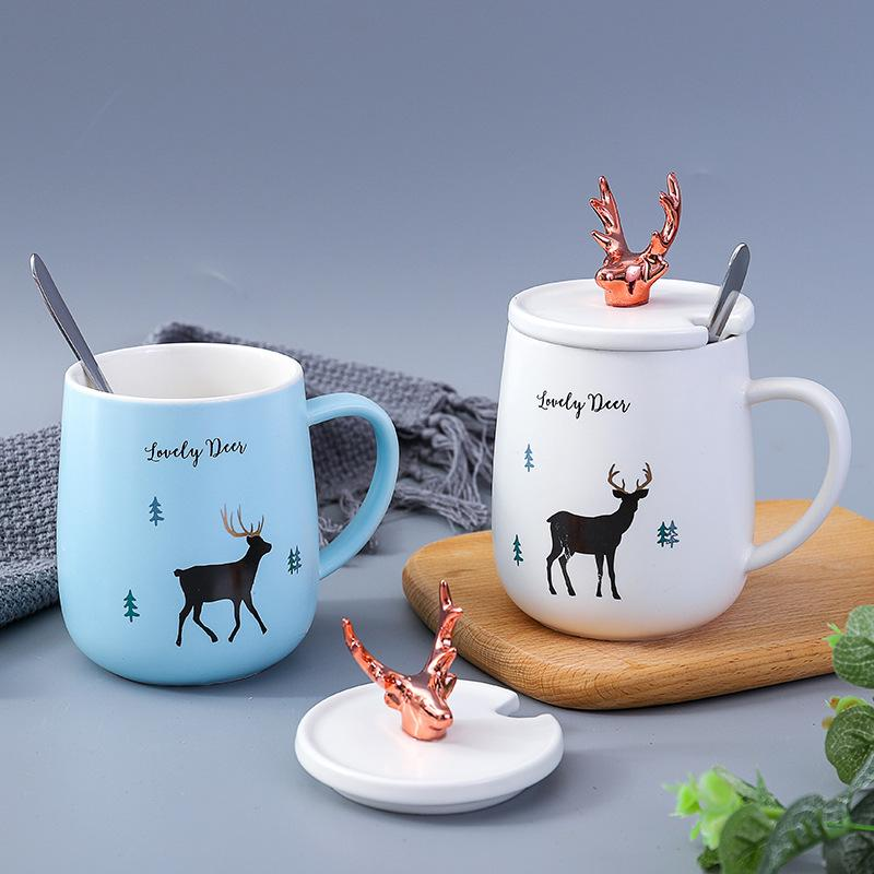 Ceramics Coffee Mugs Set Office Cup With Lid Spoon Ceramic Cup Personality Milk Mug Coffee Tea Cup Home Office Drinkware Gift