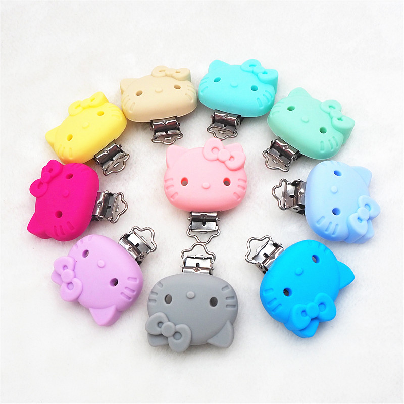 Купить с кэшбэком Chenkai 10PCS Silicone Clips Pacifier Dummy Teether Chain Holder Clips DIY Baby Mouse Animal Nursing Teething Toy Clip