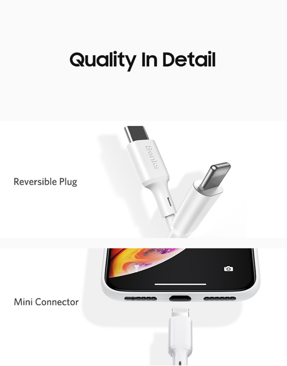 Benks MFi PD Cable Fast Charging For iPhone 11 Pro MAX X XR XS 8 Plus Type C to Lightning Phone Cables For iPad Pro Charger Cord (11)