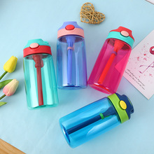 5 Color 500ml Kids Baby Water Bottle With Straw Plastic Bottles For BPA Free Sports School Drinkware