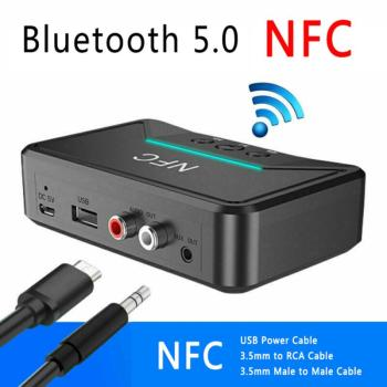 Wireless NFC Bluetooth Receiver 5.0 4.2 4.1 3.0 RCA AptX LL NFC 3.5mm AUX HiFi Stereo Audio Adapter Dongle For Car Speaker image