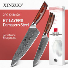 XINZUO 2 PCS Kitchen Knife Brand Cook Sets High hrc Damascus Steel Knife Brand Chef Paring Knives Cooking Tools rosewood Handle