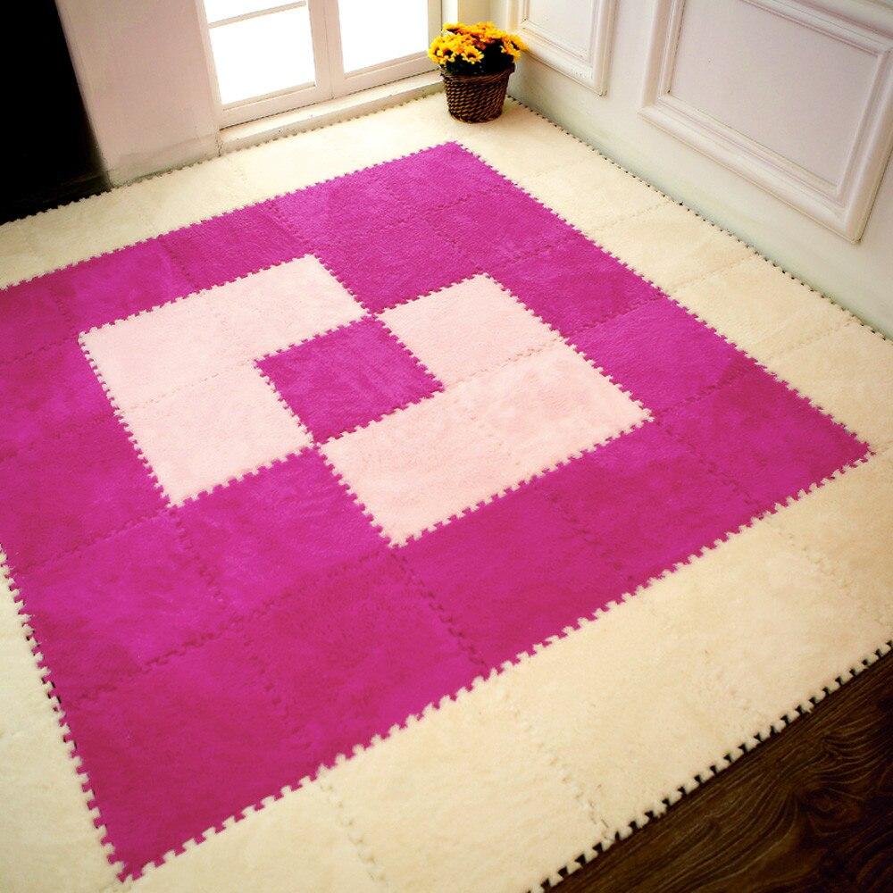 Hf0455d115edd4e9bb483284b7cc39865p Play Mats 25X25cm Kids Carpet Foam Puzzle Mat EVA Shaggy Velvet Baby Eco Floor 7 colors 10.30