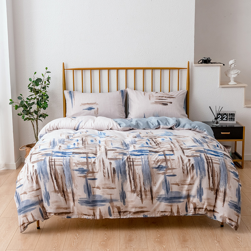 Bedding Article Western Style Hot Selling Three-piece Set Ink Painting Graffiti Quilt Cover Non-Sheet