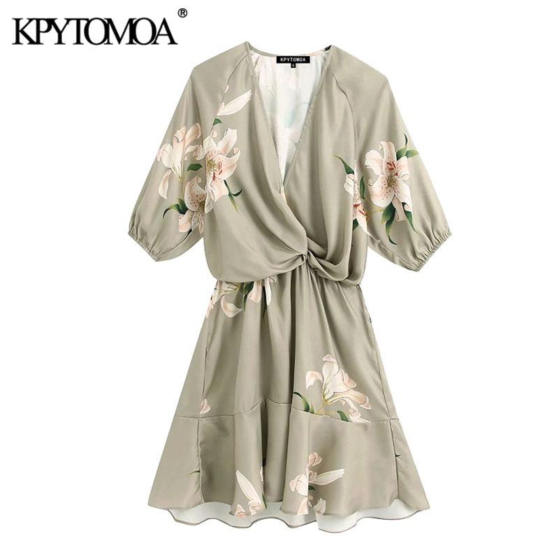 KPYTOMOA Women 2020 Chic Fashion Floral Print With Knot Mini Dress Vintage Short Sleeve Elastic Waist Female Dresses Vestidos