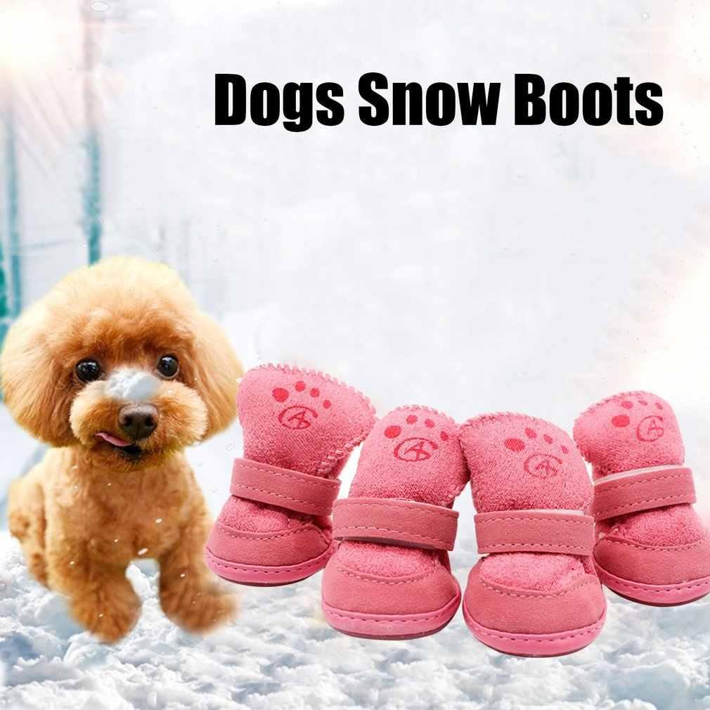 4 adet/takım köpekler kar botları evcil hayvan pembe köpek ayakkabı kış sıcak yumuşak kaşmir Paws bakımı Anti-skid taban yürüyüş çalışan evcil hayvan malzemeleri