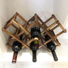 Деревянный стеллаж для вина, Бытовая Складная полка для хранения винных бутылок, товары для украшения дома