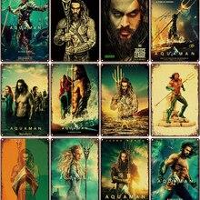 Aquaman de Metal Placa de póster de película clásica vintage de Metal estaño signo de pared para la decoración de Bar de hierro pintura
