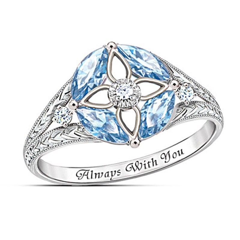 HT-20 femmes Zircon anneau bleu creux dame anneau de luxe haut de gamme tempérament bijoux fiançailles saint valentin petite amie cadeau