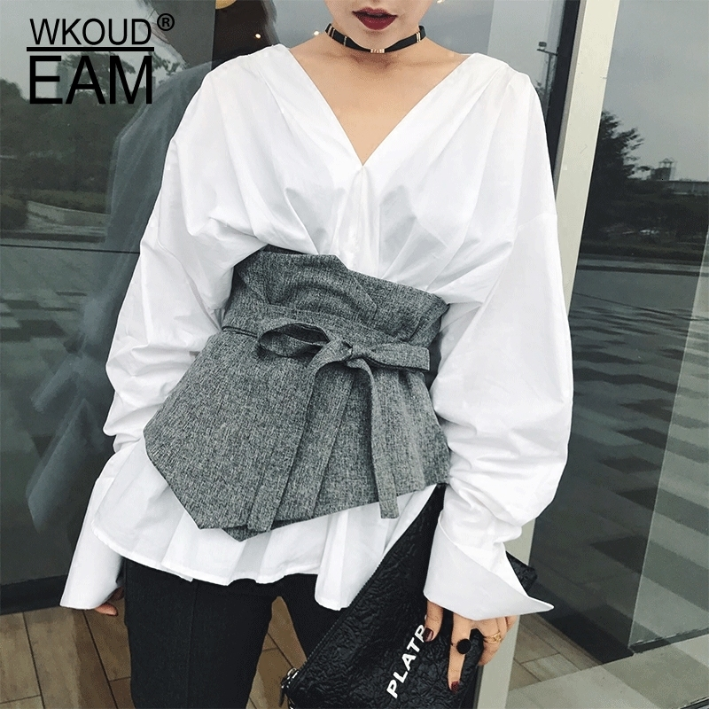 WKOUD EAM 2020 New Fashion Corset Belt For Women Solid Drawstring Grey Korea Cummerbunds Irregular Casual Wid Belt Female ZJ907
