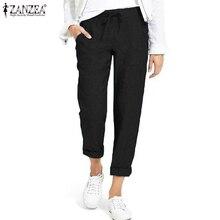 Pants Women Trousers-Pockets Waist-Pantalones Plus-Size Ladies Elastic Office Solid ZANZEA