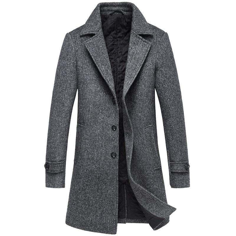 Coat Men High Quality Trench Coat Winter Men Solid Long Men's Coat Brown Gray Men's Jacket Streetwear Men's Cashmere Coat M-4XL