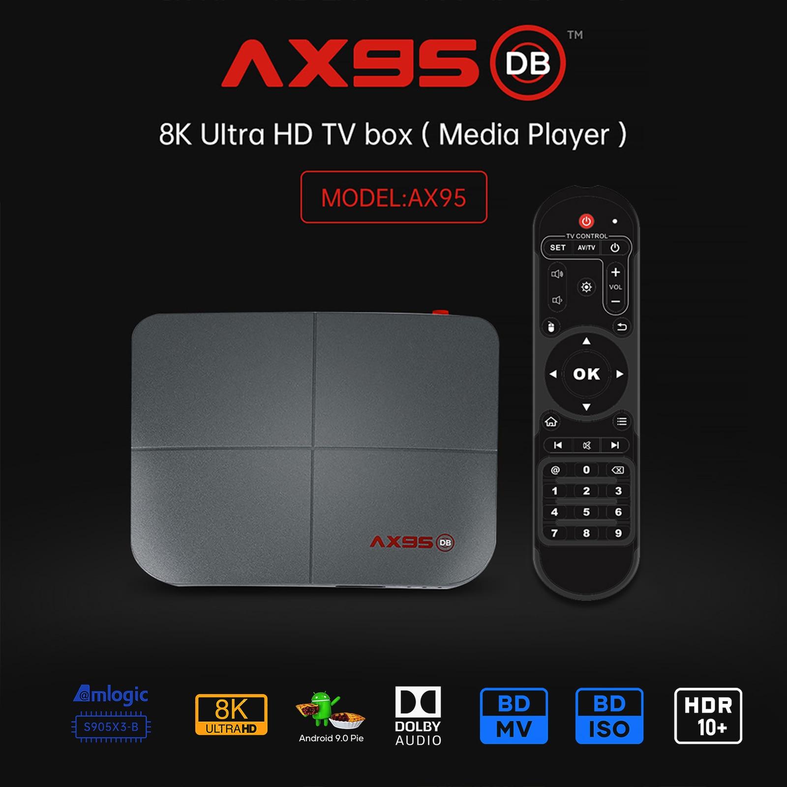 Ax95 db amlogic S905X3 B smart android 9.0 caixa de tv 4gb ram 32gb 64gb 128gb rom 4k hd conjunto caixa superior suporte dolby blu ray bd mv iso|Conversor de TV|   -