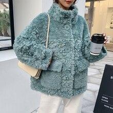 2019 las nuevas mujeres 100% abrigo de lana chaquetas de piel auténtica abrigo oveja Shearling chaqueta Otoño Invierno A296