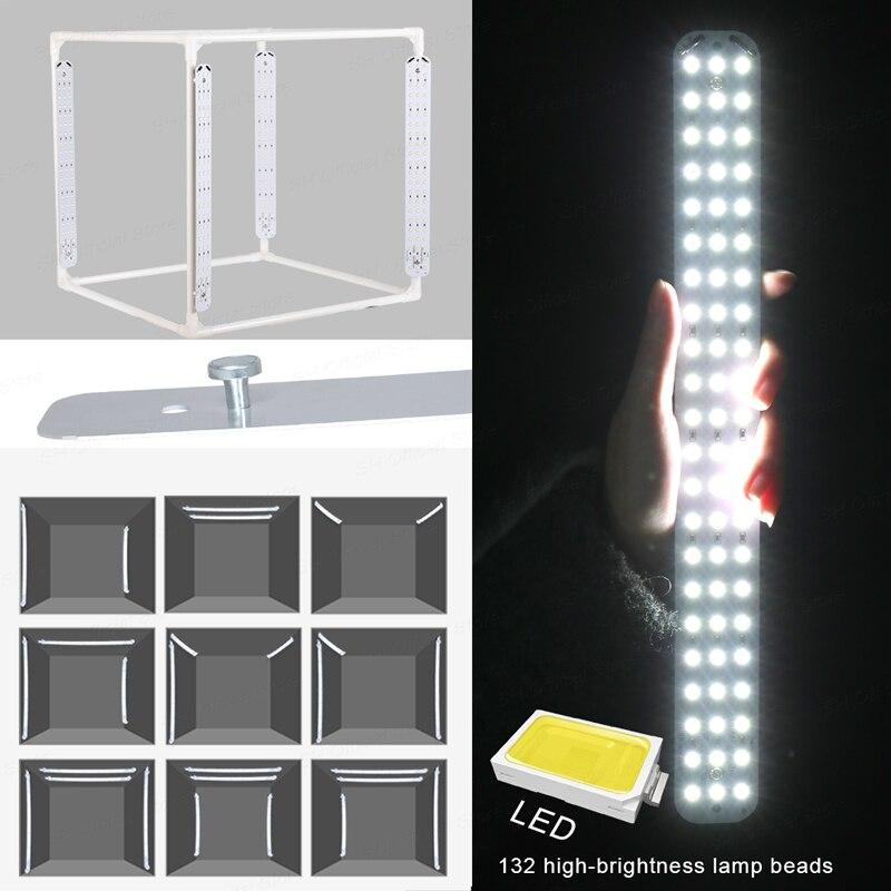 Светодиодный складной фотостудий софтбокс лайтбокс 40 см 50 см 60 см 70 см Световой тент с белыми черными аксессуары для фона световой короб - 6