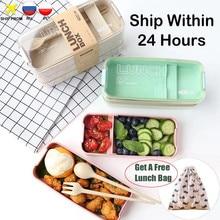 900ml נייד בריא חומר הצהריים תיבת 3 שכבה חיטה קש בנטו קופסות מיקרוגל כלי אוכל מזון אחסון מיכל Foodbox