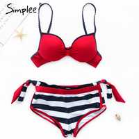 Simplee Padded bra striped swimwear plus size Push up pink swimwear women Bondage bathing suit biquini XL stripe two-piece suits