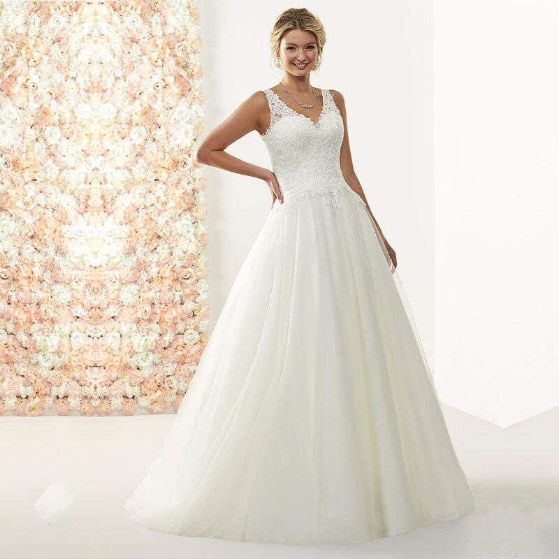 Eightale Plus Size Wedding Dress 2019 V Neck Appliques A Line Lace Vintage Vestidos Boda Wedding Gowns Bride Dress