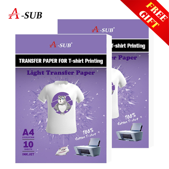A4 T-shirt Transfer Paper Inkjet printing photo paper For Light Color 100% Cotton Fabric with gift inkjet heat transfer sublimation printing paper t shirt light dark black fabric transfer paper for cotton garment thermal paper
