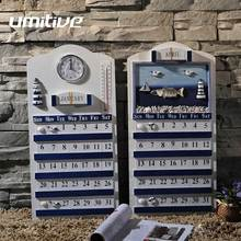 Umitive 1 pcs Mediterranean Style Blue And White Classic Solid Wood Perpetual Calendar Furnishings Decoration