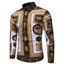 2019 Autumn Clothing New Style Versitile Fashion Casual Fold-down Collar Men Long Sleeve Printed Shirt