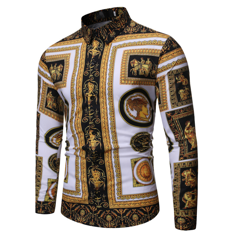 Autumn Clothing New Style Versitile Fashion Casual Fold-down Collar Men Long Sleeve Printed Shirt