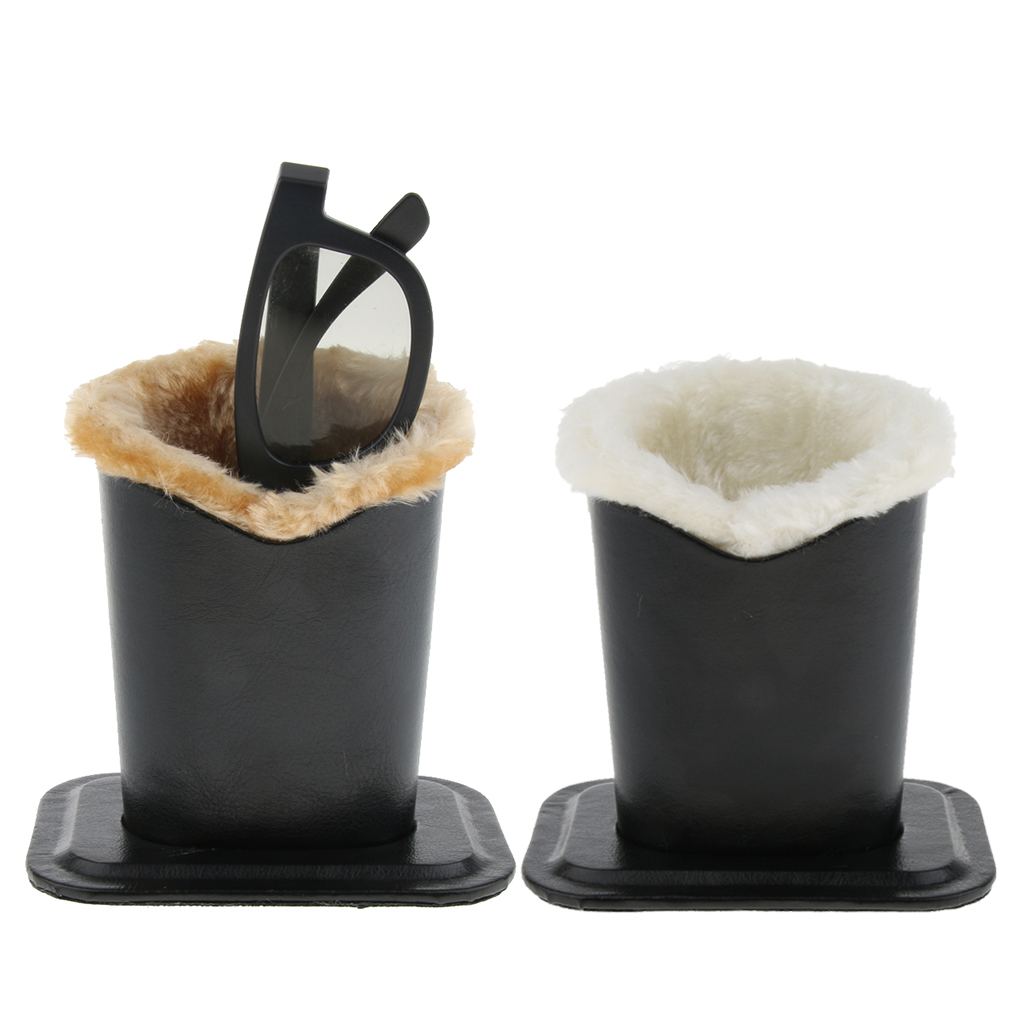 2x Anti-Scratch PU Upright Desktop Glasses Case Plush Lined Eyeglass Holder Stand Pen Container For Desk, Nightstand, End Table