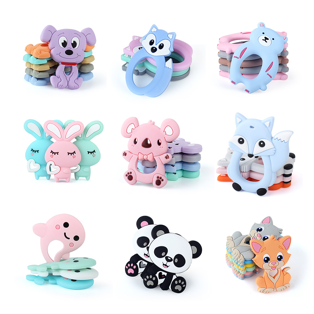 Keep&Grow 10pcs Silicone Teether Animals Koala Bear Dog Baby Teethers DIY Pacifier Clips Beads Teething Toys Baby Products