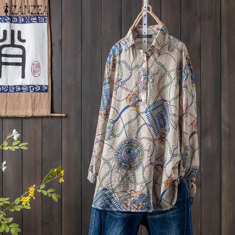 2019 Autumn Laple Neck Long Sleeve Floral Printed Blouse ZANZEA Women Vintage Shirts Casual Loose Blusas Femininas Robe Tops