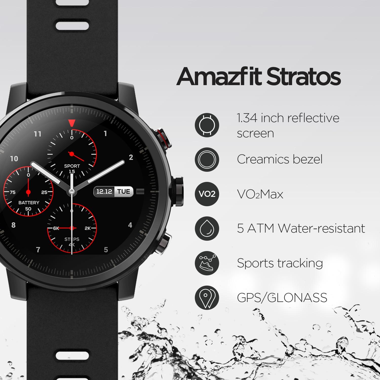 Original Amazfit Stratos 2 Smartwatch montre intelligente Bluetooth GPS compte de calories moniteur cardiaque 50M étanche - 3
