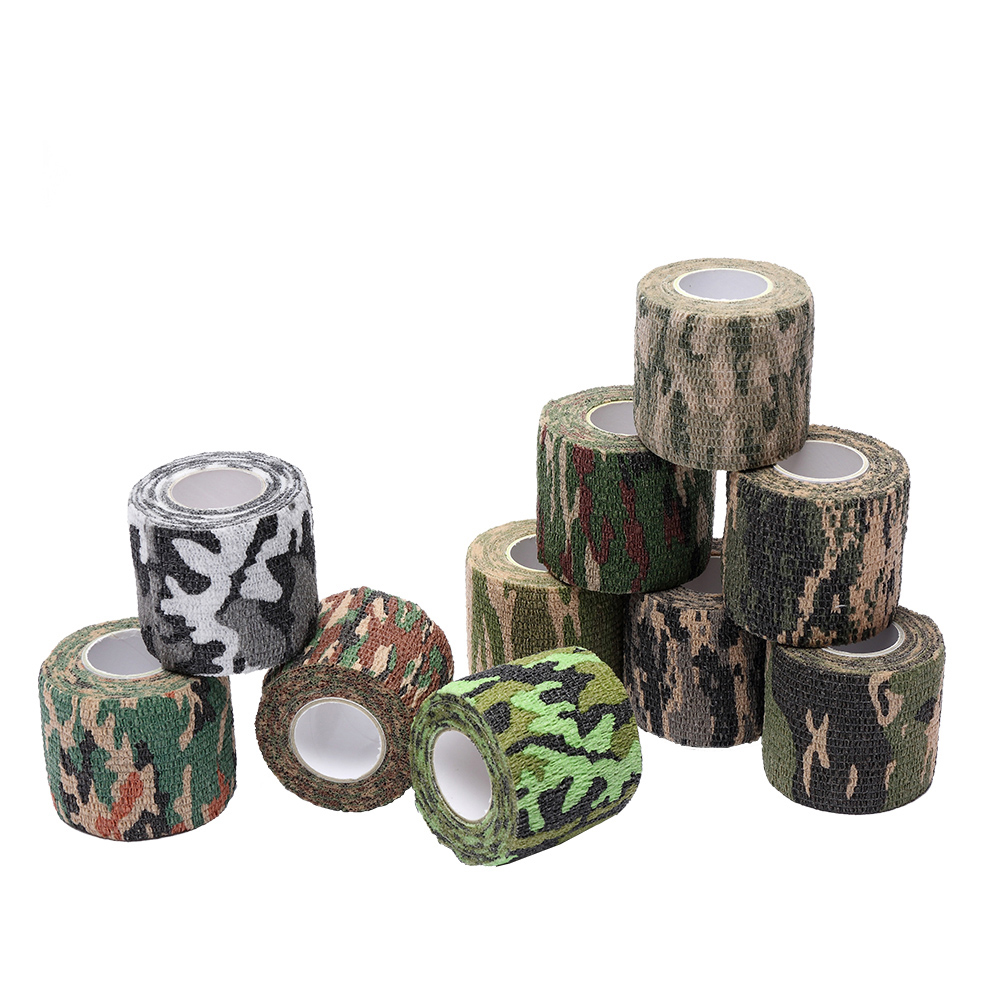 2.5cm*4.5m Self-Adhesive Elastic Bandage Treatment Gauze Tape Emergency Muscle Tape Camouflage Bandage Sports