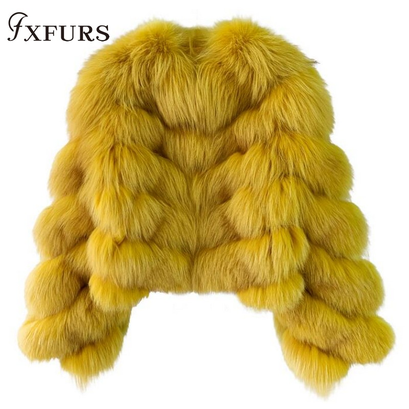 Jackets Overcoats Short Fur Silver Yellow Winter Women Luxury Warm Girl Super-Fashion