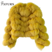 2019 Super Fashion Luxury Women Fox Fur Coats Yellow Genuine Overcoats Girl Winter Warm Jackets Short Silver