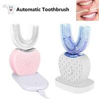 Automatyczne elektryczne szczoteczki do zębów akumulator 360 stopni szczoteczka do zębów w kształcie litery U szczotka 4 tryby szczotkowania niebieskie światło wybielić zęby w Elektryczne szczoteczki do zębów od AGD na
