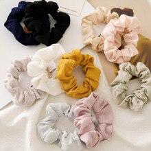 Корейские женские одноцветные резинки, аксессуары для волос со складками, милые повязки для волос, повязки для девушек для женщин, резинки для волос, обруч для волос