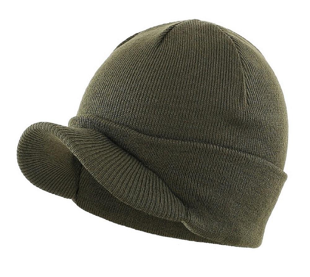 Connectyle Men's Fashion Winter Beanie Hat with Brim Warm Double Soft Knit Cuff Beanie Cap Winter Outdoor Accessories