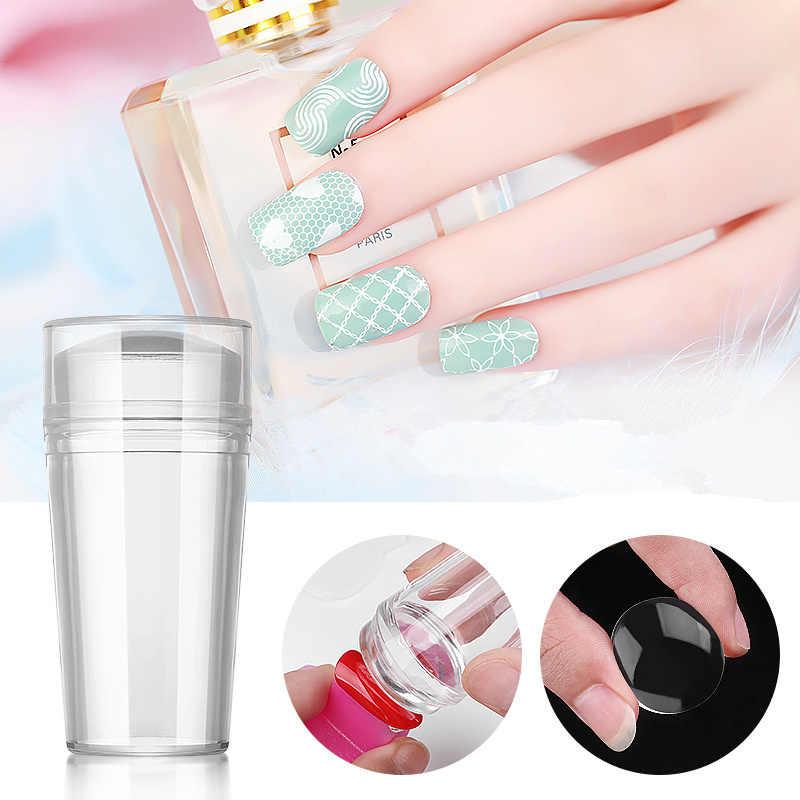 Silicone Nail Art Stamper Grattoir avec Capuchon De Haute Qualité Nail Art Gabarits Transparent Tampon Ongle Outil D'estampage