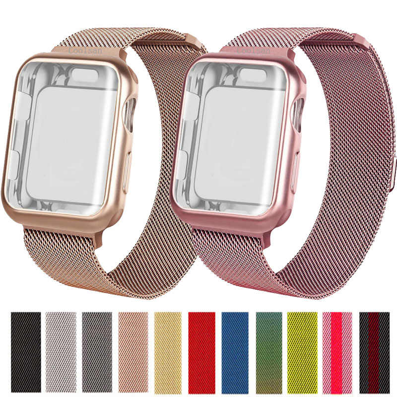 Milanese Loop Stainless Steel strap + case For Apple Watch 40mm 44mm 38mm 42mm Screen Protector Sport Bracelet for iWatch bands