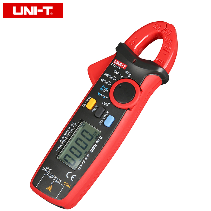 UNI T UT211B Misuratori digitali a pinza mini AC / DC 60A; Amperometro True RMS, V.F.C./NCV/ Test resistenza / capacità, retroilluminazione LCD - 2