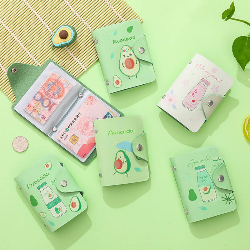 Fruit Avocado PU Leather 20 Bits Card Case Business Card Holder Men Women Credit Passport Card Bag ID Bank Passport Card Wallet