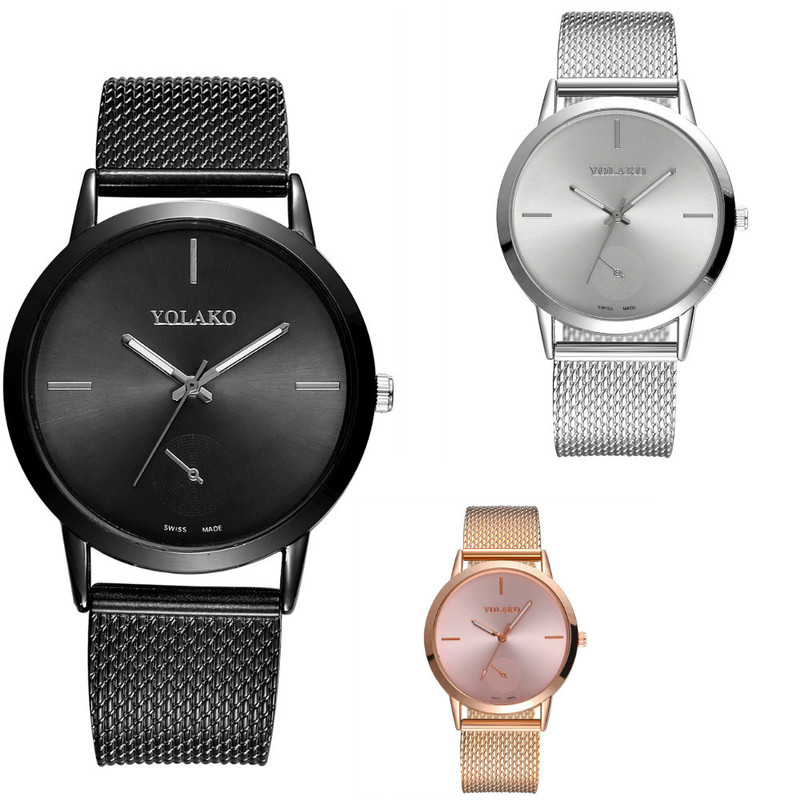 Bracelet Watch Simple Steel Mesh Band Wristwatch Men's And Women's Korean Version Of Yuansufeng Couple Quartz Watch