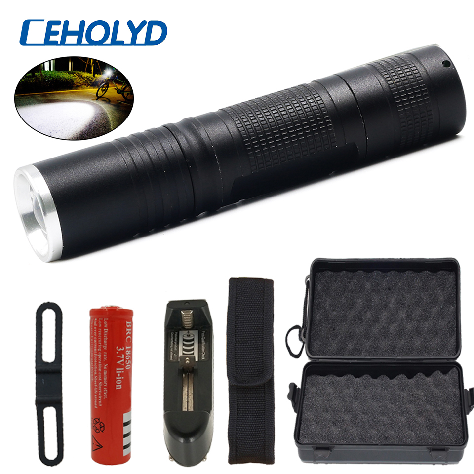 8000 Lumens XM-L2 U3 T6 Powerful LED Flashlight Torch For Bicycle 5 Modes Switch Zoom Lens Power By 18650 Rechargeable Battery