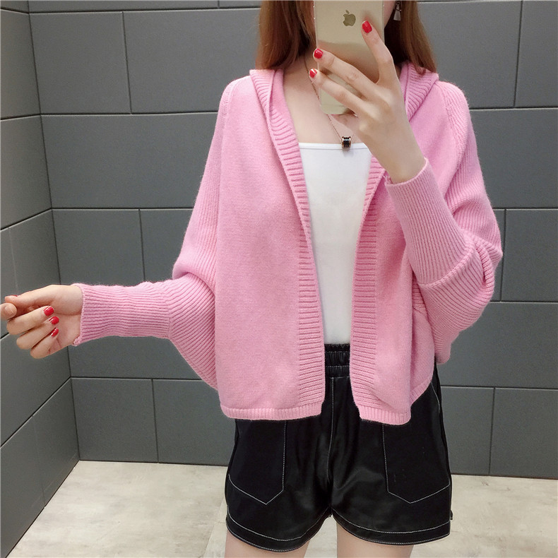 2019 Free send New style Korean loose and comfortable Autumn women Cardigan Sleeve of bat Hooded Sweater coat 136