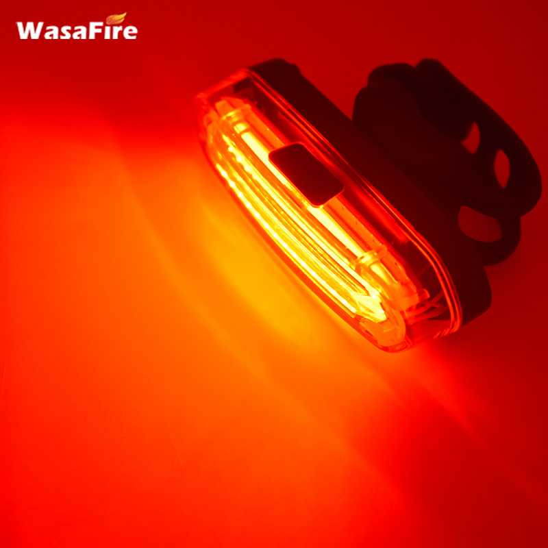 Wasafire Luz Bicicleta LED 300 Lumens Bike Light USB Rechargeable Safety Warning Bicycle Rear Light Bicycle Lamp Red Reflector