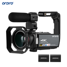 "ORDRO מצלמת וידאו 4K WiFi מצלמת וידאו דיגיטלי DV 30MP 16X 3 ""IPS מסך מגע 0.39X רחב זווית עדשה + מיקרופון + לן הוד + מחזיק משלוח על ידי DHK"