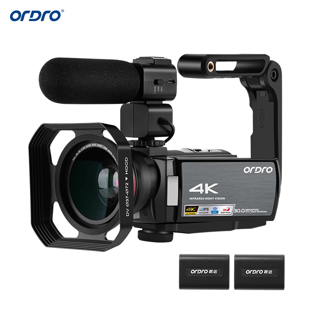 ORDRO Video Camera 4K WiFi Digital Camcorder DV 30MP 16X 3IPS Touchscreen 0.39X Wide Angle Lens+Mic+Len Hood+Holder Free by DHK image